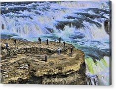 Gullfoss Waterfall # 3 Acrylic Print by Allen Beatty