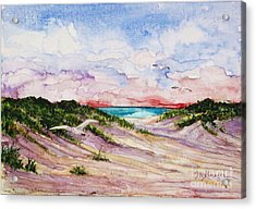 Gulls And Dunes Acrylic Print by Suzanne Krueger