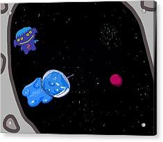 Gummy Bear In Space With Alien Acrylic Print by Jera Sky