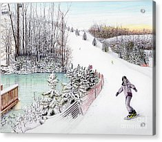 Acrylic Print featuring the painting Gunnar Slope And The Ducky Pond by Albert Puskaric