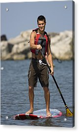 Guy Paddling On Paddleboard Acrylic Print by Christopher Purcell