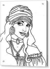 Gypsy Sketch Acrylic Print by Scarlett Royal
