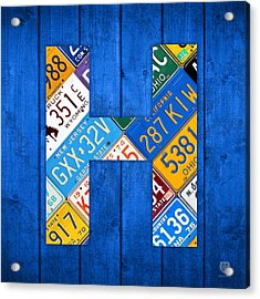 H License Plate Letter Art Blue Background Acrylic Print by Design Turnpike
