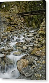 Haast Waterfall Acrylic Print by Andrea Cadwallader
