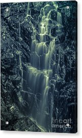 Hadlock Falls In Acadia National Park - Monochrome Acrylic Print