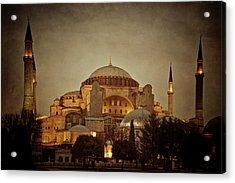 Hagia Sophia Istanbul Turkey Night Acrylic Print by Joan Carroll
