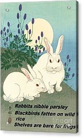 Acrylic Print featuring the painting Haiku  Rabbits Nibble Parsley by Pg Reproductions