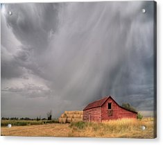 Hail Shaft And Montana Barn Acrylic Print