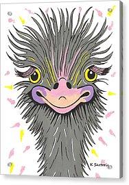 Hair Raising Day - Contemporary Ostrich Art Acrylic Print