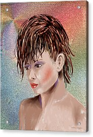 Hairstyle Of Colors Acrylic Print by Arline Wagner