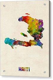 Haiti Watercolor Map Acrylic Print by Michael Tompsett