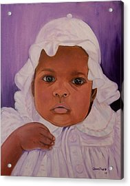 Acrylic Print featuring the painting Haitian Baby Orphan by Quwatha Valentine