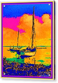 Haitian Fishing Boats Acrylic Print by Diane E Berry