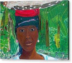 Haitian Woman   2 Acrylic Print by Nicole Jean-Louis