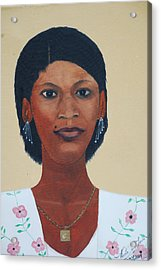 Acrylic Print featuring the painting Haitian Woman Portrait by Nicole Jean-Louis