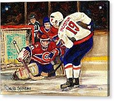 Halak Blocks Backstrom In Stanley Cup Playoffs 2010 Acrylic Print by Carole Spandau