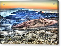 Acrylic Print featuring the photograph Haleakala Crater Sunset Maui by Shawn Everhart
