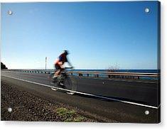 Haleakala Highway Bike Ride Acrylic Print by Michael Ledray