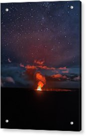 Halemaumau Crater At Night Acrylic Print