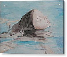 Haley In The Pool Acrylic Print by Charlotte Yealey