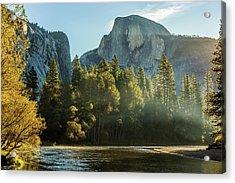 Half Dome And Merced River Autumn Sunrise Acrylic Print