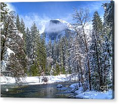 Half Dome And The Merced River Acrylic Print by Bill Gallagher