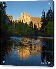 Half Dome And The Merced River With The Moon Acrylic Print
