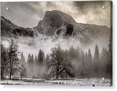 Half Dome In Winter Acrylic Print by Connie Cooper-Edwards