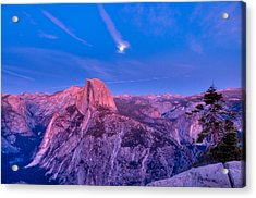 Half Dome Pink Sunset Full Moon Acrylic Print