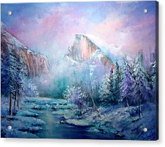 Half Dome Snow Acrylic Print by Sally Seago