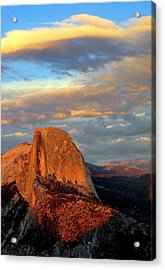 Half Dome Sunset Colorful Clouds Vertical Acrylic Print by Jeff Lowe