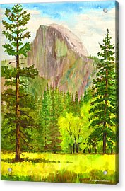 Half Dome With Trees Acrylic Print