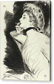 Half Length Portrait Of A Seated Woman, Smoking A Cigarette, Facing Left Acrylic Print