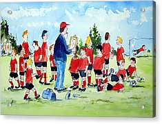 Half Time Pep Talk Acrylic Print by Wilfred McOstrich