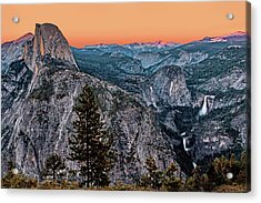 Halfdome And The Waterfalls At Sunset Acrylic Print by Dan Carmichael