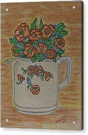 Acrylic Print featuring the painting Hall China Orange Poppy And Poppies by Kathy Marrs Chandler