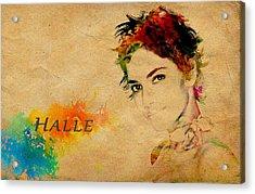 Halle Berry  Acrylic Print by Manjot Singh Sachdeva