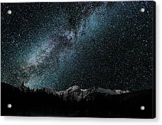 Acrylic Print featuring the photograph Hallet Peak - Milky Way by Gary Lengyel