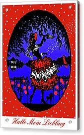 Hallo Mein Liebling - Vintage Illustration Acrylic Print by Rayanda Arts