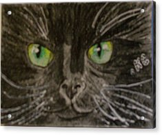 Acrylic Print featuring the painting Halloween Black Cat I by Kathy Marrs Chandler