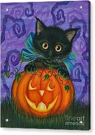 Halloween Black Kitty - Cat And Jackolantern Acrylic Print