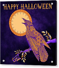 Acrylic Print featuring the drawing Halloween Crow And Moon by Tammy Wetzel
