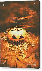 Halloween In Fall. Still Life Pumpkin Head Acrylic Print by Jorgo Photography - Wall Art Gallery