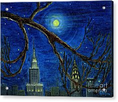 Halloween Night Over New York City Acrylic Print by Anna Folkartanna Maciejewska-Dyba
