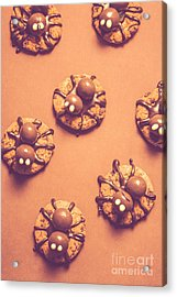 Halloween Spider Cookies On Brown Background Acrylic Print by Jorgo Photography - Wall Art Gallery