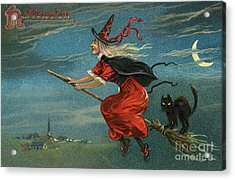 Halloween Witch And Black Cat Riding Broom At Night Acrylic Print