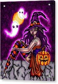 Halloween Witch Acrylic Print by Coriander  Shea
