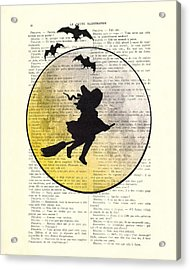 Witch Flying With Full Moon Acrylic Print