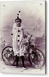 Halloween Pierrot Boy With Antique Bicycle Circa 1890 Acrylic Print by Peter Gumaer Ogden