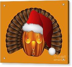 Hallowgivingmas Santa Turkey Pumpkin Acrylic Print